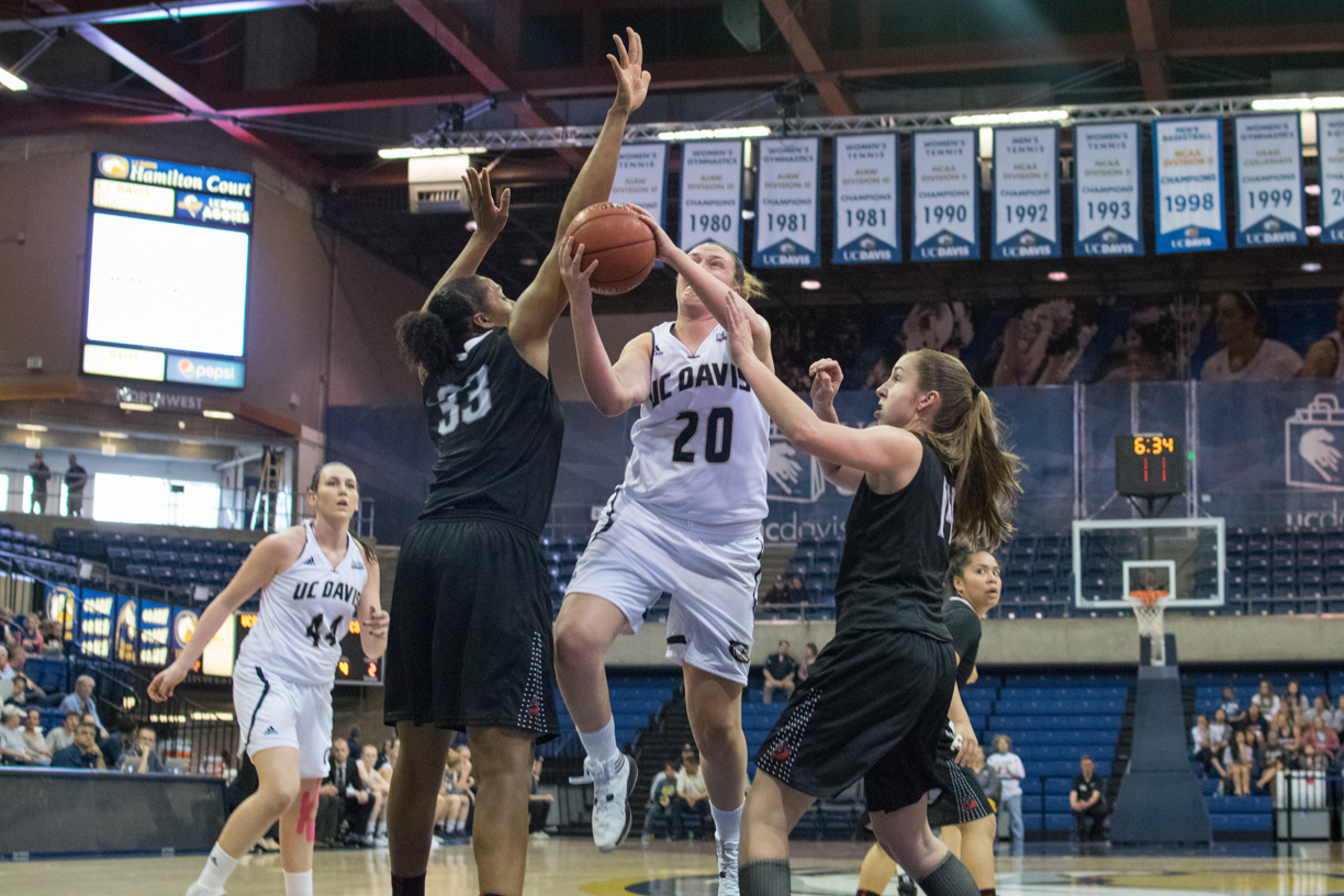 UC Davis Women's Basketball team shoots for and makes the win