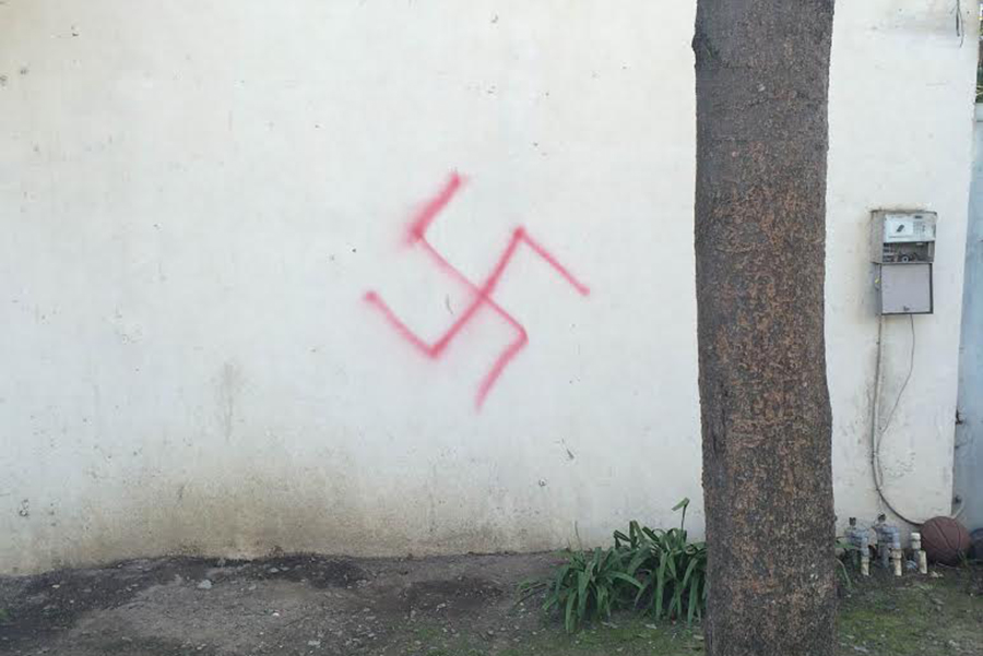 On January 31, 2015 two large swastikas were spray painted around the Alpha Epsilon Pi fraternity house. (SCOTT DRESSER / AGGIE)
