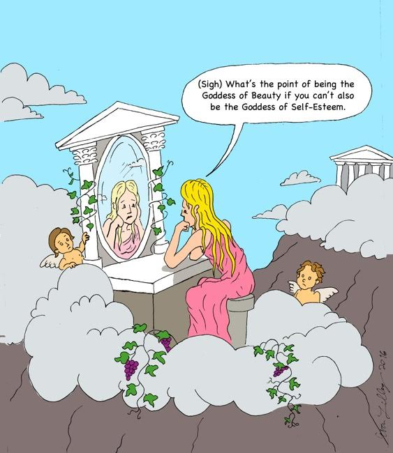 Evan Lilley Cartoon: The Goddess of Self-Esteem
