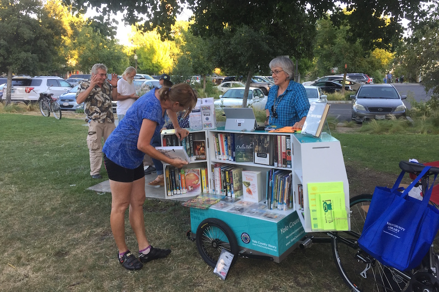 Pedal-powered mini-mobile libraries roll around Davis