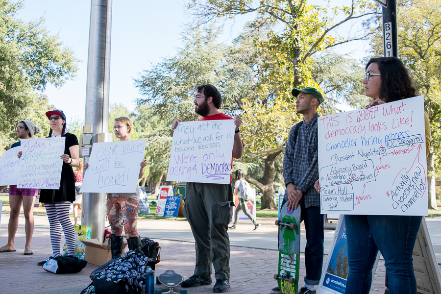 Democratize UC holds demonstration at Memorial Union