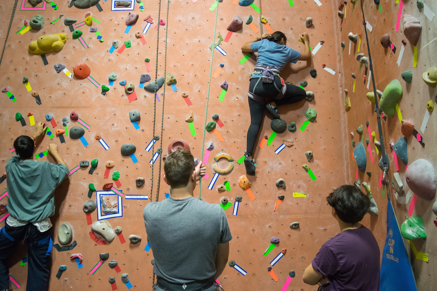 I'm thankful for rock climbing with my friends. After a stressful day, there's nothing I enjoy more than focusing completely on my own body and movement, and spending time with my friends. Climbing lets me do that. (BRIAN LANDRY)