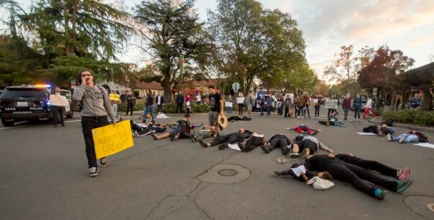 NoDAPL protest erupts in downtown Davis