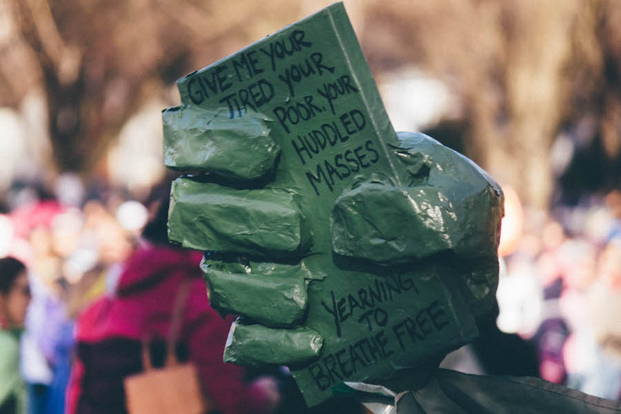 The lengths that people went through to include art into their protest was absolutely astounding. This person had fashioned a version of the Statue of Liberty onto themselves, and had even included the text that is actually etched onto the statue (BECCA RIDGE / AGGIE)