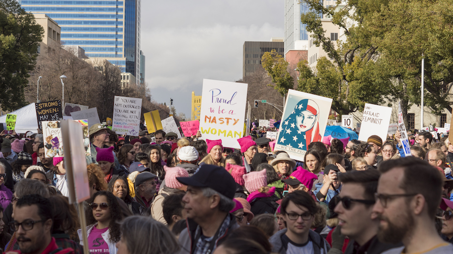 Crowds of people gathered in front of the capitol in solidarity, to support the fight for not only women's rights but overall equality. (BRIANA NGO / AGGIE)