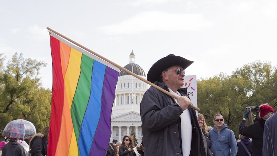 A man among the marchers marches to the capitol with a pride flag in hand. (BRIANA NGO / AGGIE)