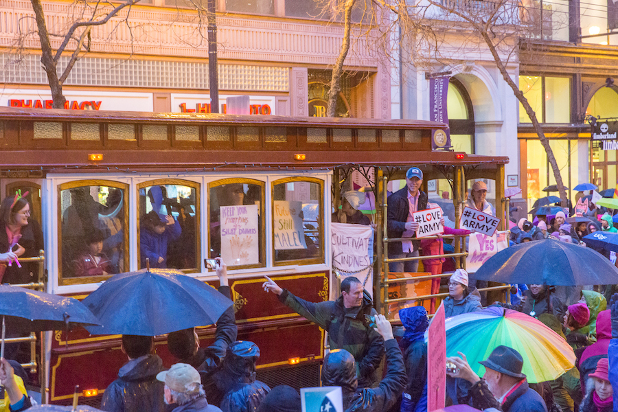 Demonstrators even rode San Francisco streetcars. (JAY GELVEZON / AGGIE)