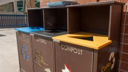 Humor: Panicking student just throws one thing into each type of trash can