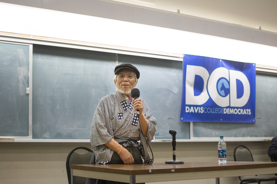 Hiroshima atomic bomb survivor Takashi Tanemori speaks at UC Davis