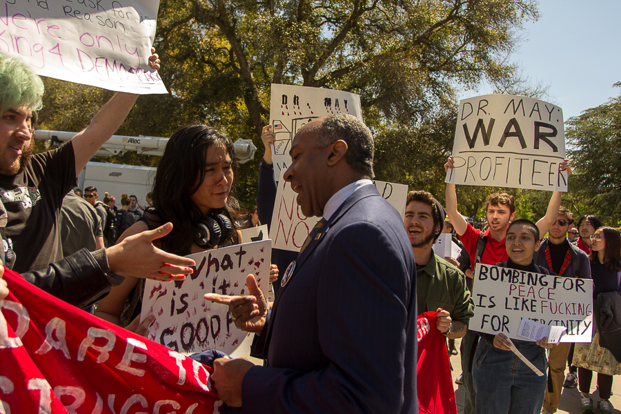 Protests erupt at incoming Chancellor Gary May's first public meeting with UC Davis students