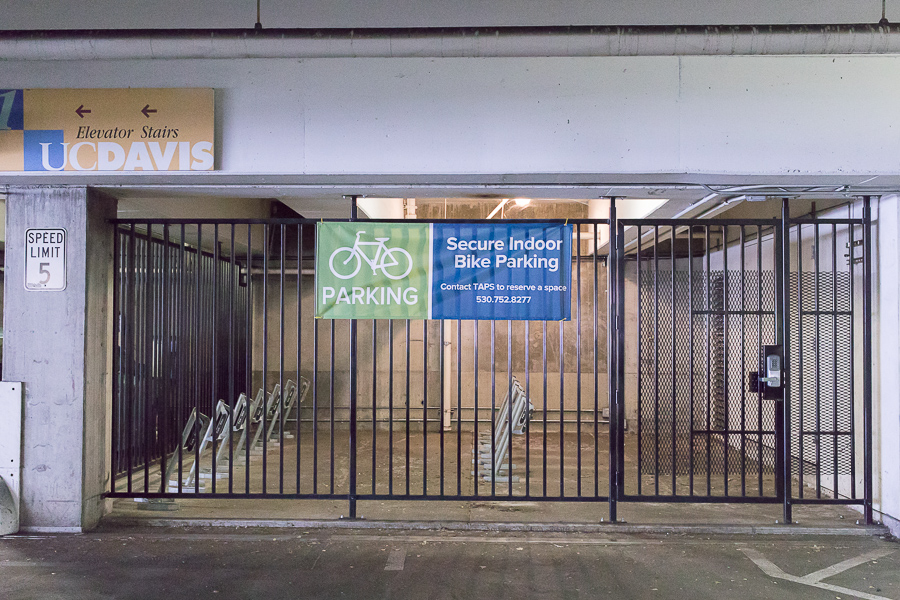 TAPS installs new bike cage in Quad parking structure
