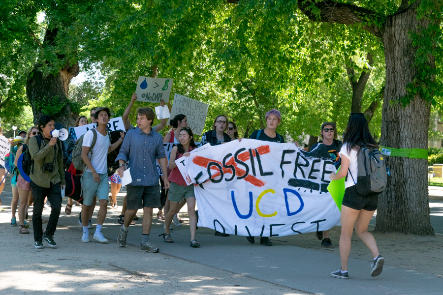 Fossil Free UC Davis demonstrators hold overnight sit-in at Mrak Hall