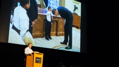 Former Chief Official White House Photographer Pete Souza speaks at Mondavi Center