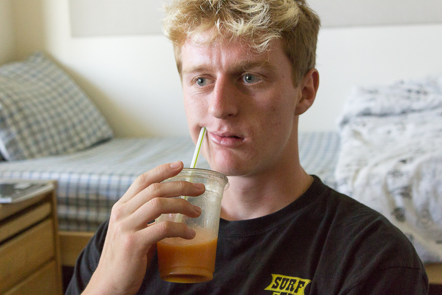 Humor: Guy going in for a drink while addressing group misses straw — and respect of his peers