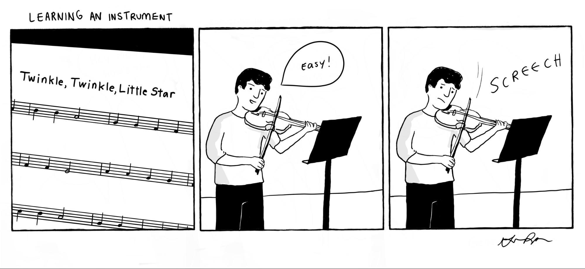 Cartoon: Learning An Instrument