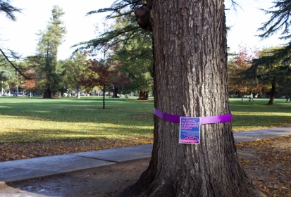 Ribbons on trees tie in issues around campus