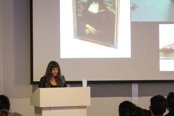 Dena Beard lectures at the Manetti Shrem