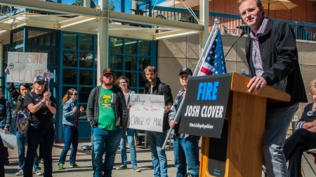 Protest in favor of dismissing Professor Joshua Clover held