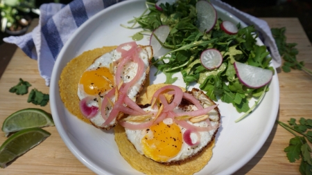 Garlic Fried Egg Tacos