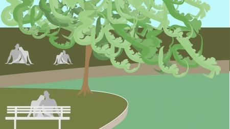 Flock of arboretum couples make runner uncomfortable