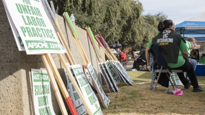 AFSCME Local 3299 strikes in protest of alleged job outsourcing, unfair labor complaints