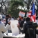 Supporters and protestors of the Central Park Gandhi statue clash during event