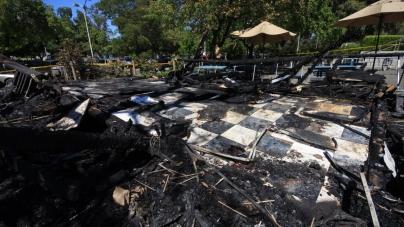 'Suspicious' fire burns down coffee kiosk by King Hall